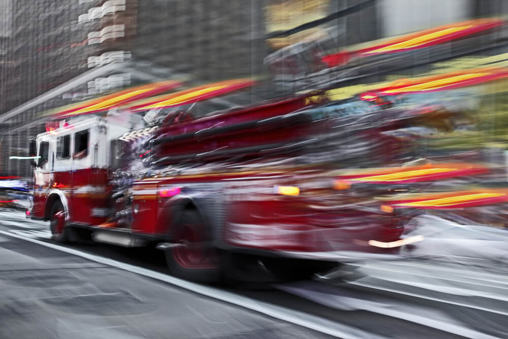 speeding fire truck from ULC fire alarm monitoring alarm