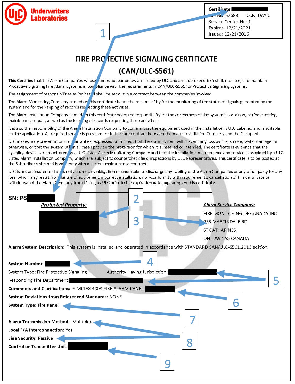 Ulc fire alarm monitoring certificates what do they look like ulc fire alarm monitoring certificate 1betcityfo Gallery